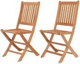 International Home Miami London Outdoor Teak Folding Chairs - Set of 2 frame, light brown; hardware, gray