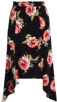 Miss Selfridge FLORAL HANKY Maxi skirt black
