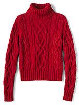 Lands' End Women's Drifter Aran Turtleneck Sweater-Poppy Field Roses