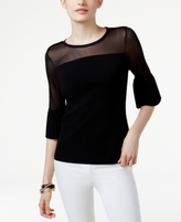 INC International Concepts Petite Ruffle-Sleeve Illusion Sweater, Created for Macy's
