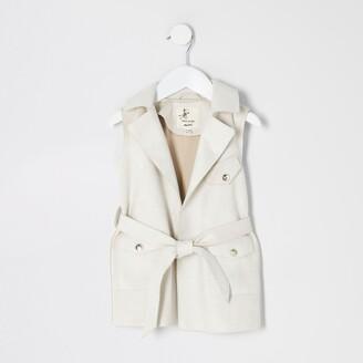 River Island Mini girls Cream suedette sleeveless jacket
