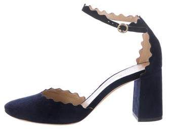 Chloé Scalloped Suede Sandals