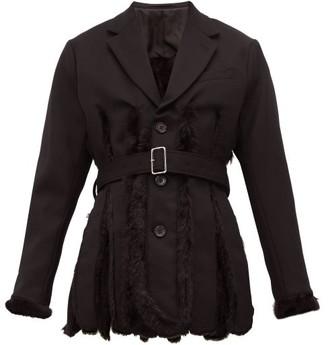 Noir Kei Ninomiya Slit Faux Fur-lined Wool-gabardine Blazer - Womens - Black