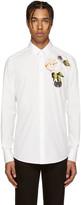 Dolce & Gabbana White Embellished Flower Shirt