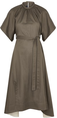 Eudon Choi Kendra Army Green Belted Cotton Dress
