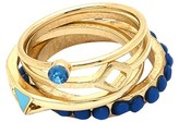 Women's 4 Row Blue Size 7 Ring Gold