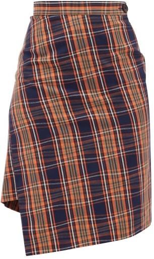 Vivienne Westwood Infinity Asymmetric Tartan Cotton Skirt - Navy