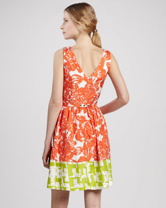 Trina Turk Belted Floral-Print Colorblock Dress
