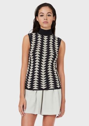 Emporio Armani Mock-Neck Sweater With Op-Art Triangle Motif
