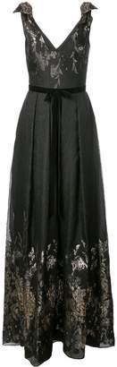 Marchesa Metallic Finish Full Length Dress