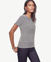 Ann Taylor Petite Houndstooth Pocket Tee