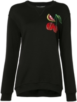 Dolce & Gabbana Round Neck Sweater with Cherry Embroidery