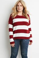 Forever 21 Plus Size Stripe Mixed Knit Sweater
