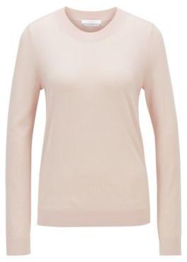 HUGO BOSS Crew Neck Sweater In Super Fine Merino Wool - light pink