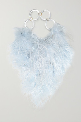 VANINA L'oiseau Rebelle Feather-embellished Acrylic Tote - Blue