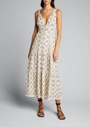 A.L.C. Jolie Long Tiered Silk/Linen Dress