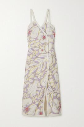 Racil Floral-print Cotton-terry Wrap Midi Dress - Purple