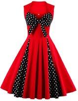 DealBang Women's Retro 1950s Classy Polka Dot Rockabilly Vintage Tea Dress S-5XL (XL, )