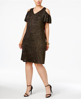 MSK Plus Size Cold-Shoulder Glitter Dress