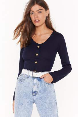 Nasty Gal Womens Soft at Heart Ribbed Button Top - white - 4