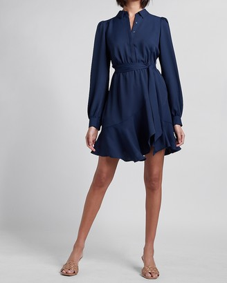 Express Belted Puff Sleeve Shirt Dress