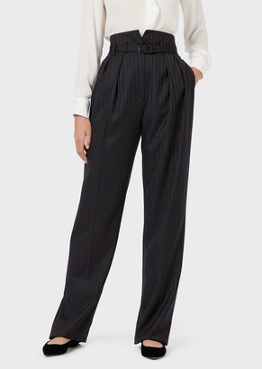 Emporio Armani Darted, Virgin-Wool Palazzo Trousers With Satin Pinstripes