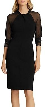 Reiss Tula Sheer Sleeve Twist Bodycon Dress