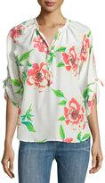 Yumi Kim Floral-Print 3/4-Sleeve Blouse, White Rosebud