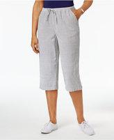 Karen Scott Petite Cotton Seersucker Drawstring Capri Pants, Only at Macy's