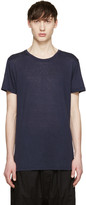 Balmain Navy Raw Silk T-Shirt