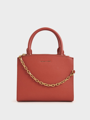 Charles & Keith Croc-Effect Chain-Link Top Handle Bag
