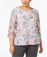 Alfred Dunner Plus Size Lakeshore Drive Floral-Print Removable-Necklace Top