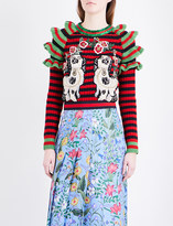 Gucci Ruffled dog-applique knitted jumper