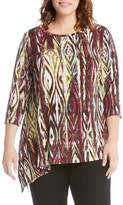 Karen Kane Plus Size Women's Asymmetrical Hem Print Tee