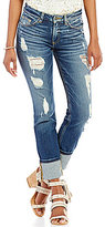 Miss Me Destructed Stretch Cuffed Ankle Straight-Leg Jeans