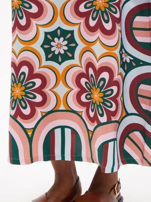 La DoubleJ Swing Ciccio-print Silk Maxi Dress - Orange Multi