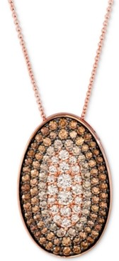 "LeVian Le Vian Chocolate Diamond Ombre Oval 18"" Pendant Necklace (2-1/4 ct. t.w.) in 14k Rose Gold"