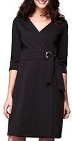 Yumi Ponte Wrap Dress, Black