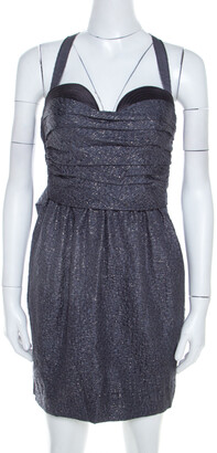 Proenza Schouler Slate Grey Lurex Insert Silk and Wool Draped Front Bustier Dress S
