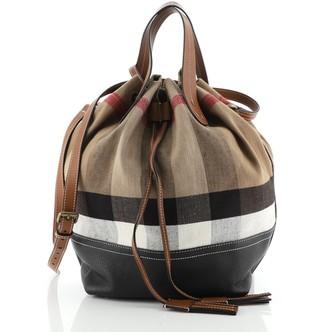 Burberry Heston Bucket Bag House Check Canvas with Leather Medium