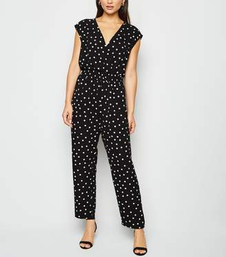 New Look Petite Spot Shirred Waist Jumpsuit