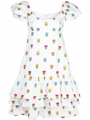 Carolina Herrera Embroidered Flowers Ruffled Dress