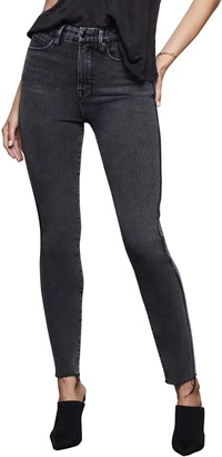Good American Good Curve High Waist Raw Edge Ankle Skinny Jeans