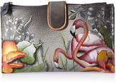 Anuschka Handpainted Leather Large Smartphonecase & Wallet-flamboyant Flmingos Wallet, FLAMBOYANT FLMINGOS, One
