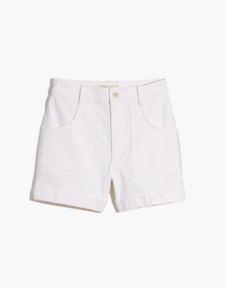 Madewell High-Rise Cuffed Denim Shorts in Tile White