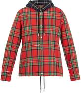 Off-White Hooded tartan-print cotton-blend shirt