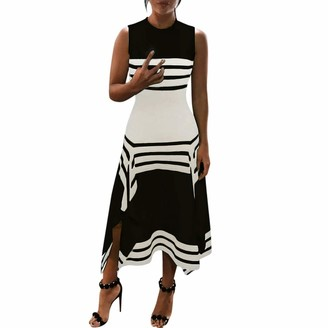 Your New Look Women's Black & White Striped Colorblock Tank Dress Casual Loose Fit Crewneck Sleeveless Split Maxi Dress for Vacation Beach Party