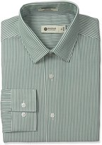 Haggar Men's Ticking Stripe Point Collar Fitted Long Sleeve Dress Shirt