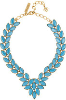 Navette gold-plated cabochon necklace
