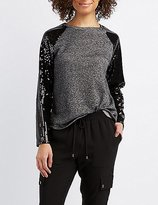 Charlotte Russe Sequin Sleeve Sweatshirt
